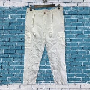 Lilly Pulitzer Womens White Eyelet Cropped Pants